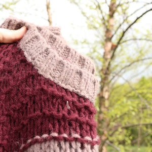 Free People | Chunky Knit Maroon & Gray Pullover